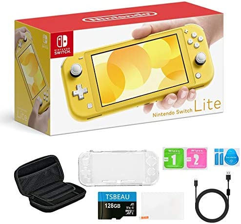 "Newest Nintendo Switch Lite Game Console, 5.5"" LCD Touchscreen Display, Built-in Plus Control Pad, Yellow, Bundled with TSBEAU 128GB Micro SD Card & 8 in 1 Carrying Case Cover Protector Accessories"