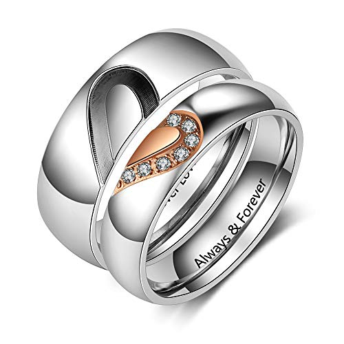 Fortheday Personalized Mens and Womens Promise Rings Set for Couples Stainless Steel Engagement Wedding Rings Band Set for Her Valentines Day Jewelry (Silver+Rose Gold (Rings Set 2pcs))