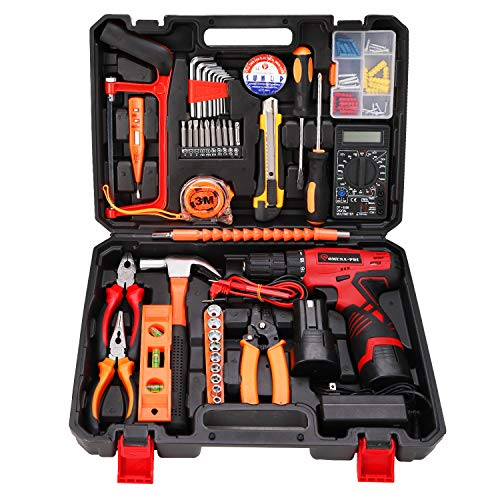 OMUSA-PDI Cordless Hammer Drill Tool Kit, 108Pcs Household Power Tools Drill Set with 16.8V Lithium Driver Claw Hammer…