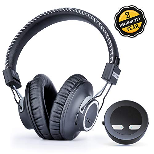 Wireless Stereo Headphones for TV, Stereo, PC, Mac, Android, iOS and Gamers, Including Bluetooth 5.0 Transmitter with Versatile Functionality, no Delay, 100 foot range, and 30-hour Battery Life