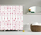Ambesonne Arrow Decor Collection, Sport of Archery Falling Arrows Pattern Art with Drawing Effect, Polyester Fabric Bathroom Shower Curtain Set with Hooks, Coral and White
