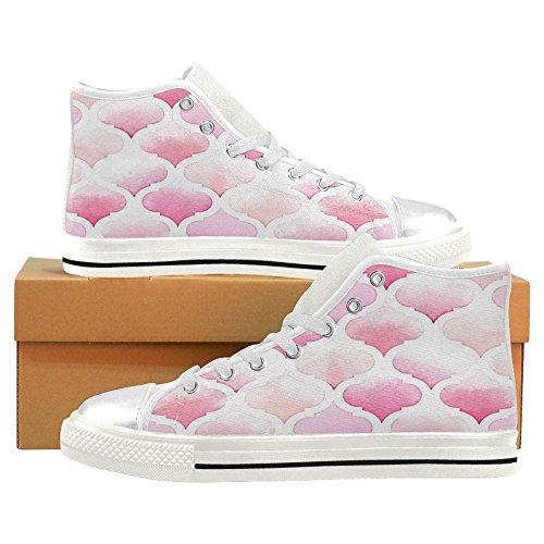 Rentprint Dames Canvas Schoenen Roze Morrocan Ornament Hoge Sneakers Platte Schoenen Veter Sneakers Mode Roze Marokkaanse Ornament Zwart