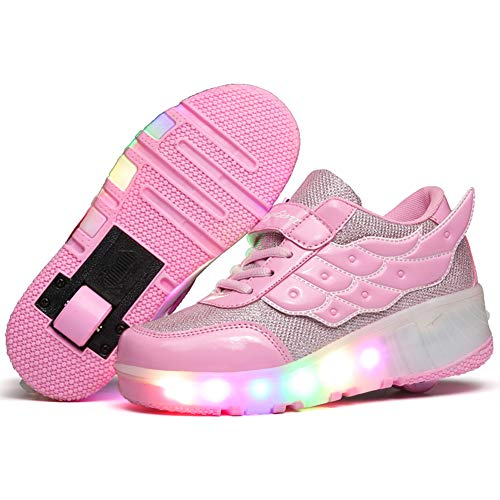 Ehauuo Kids Light Up Roller Shoes with Wings LED Skates Wheel Shoes Flashing Roller Sneakers for Unisex Girls Boys Gift(3 M US Little Kid, B-Pink) ()
