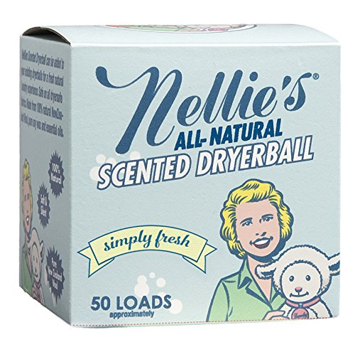Nellie's All-Natural Scented Wool Dryerball - Simply Fresh Scented - Made with 100% Pure New Zealand Wool and Lasts Approximately 50 Drying Loads - Silent in your Dryer!