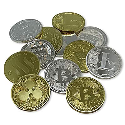 Aizics Mint Cryptocurrency Multi-Packs: Bitcoin, Litecoin, Steem, Ripple, Ethereum & Einsteinium. 24kt Gold and Silver Plated Crypto Currency Coins. Full Set, one of Each Currency & Color. 12 Coins: Toys & Games