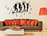 ufengke 'Enjoy Music' Dance Boys and Girls Wall Decals, Living Room Bedroom Removable Wall Stickers Murals