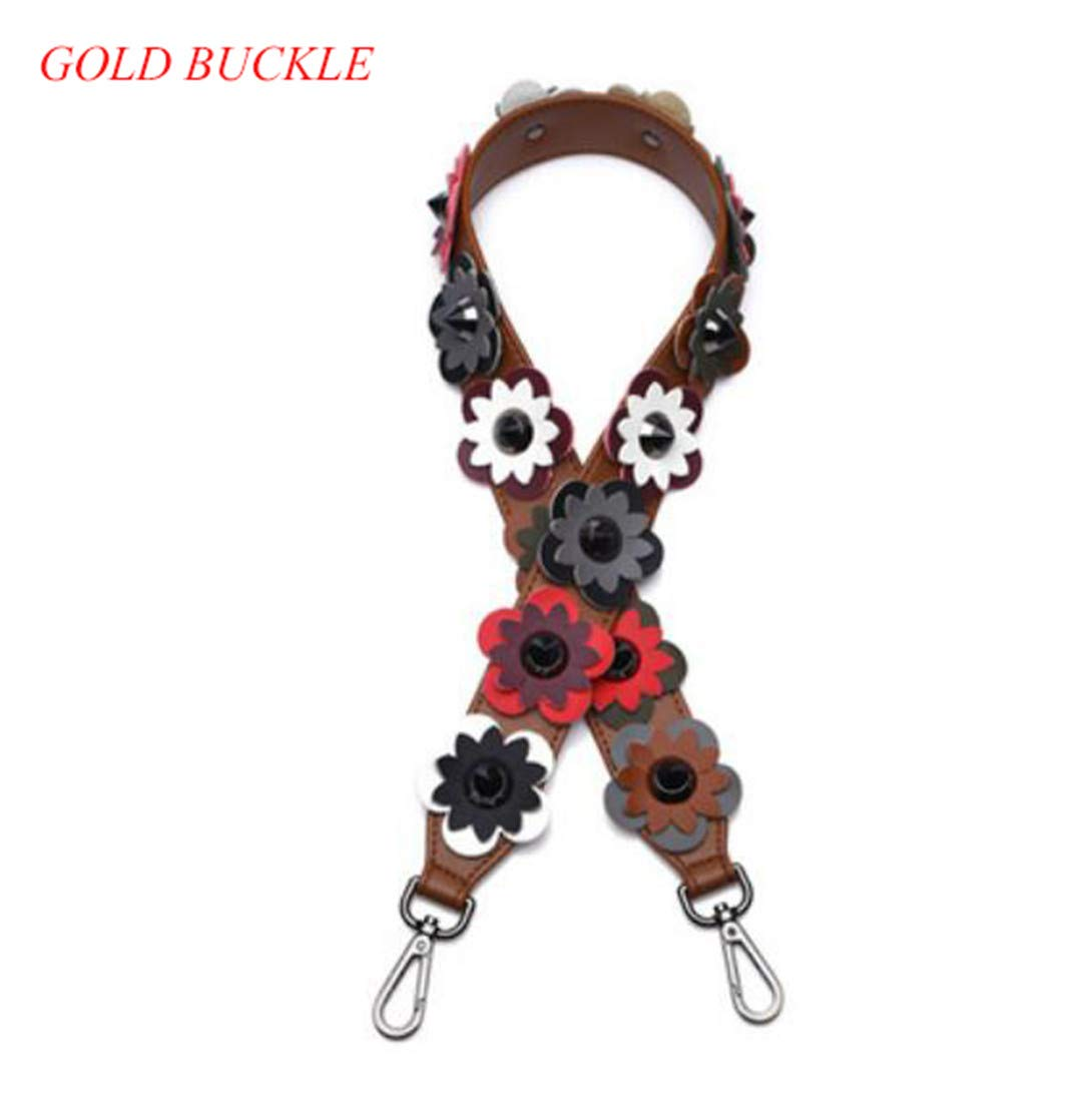 Split Leather Fashion Handbag Strap Flower Stud Design Lady Shoulder Strap 90Cm Handle For Women Bags Belts Q0133 BrownFlower Gold