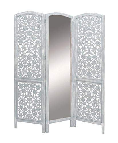 Deco 79 23779 Wood and Mirror 3-Panel Screen Divider, 72