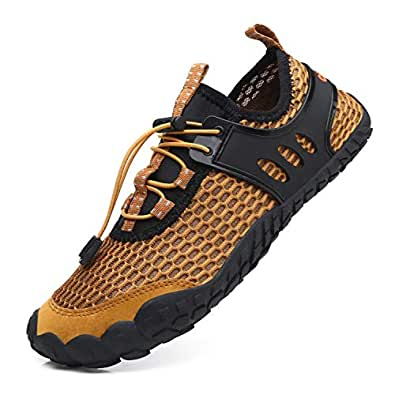 EXEBLUE Men Women Water Shoes Lightweight Breathable Mesh Aqua Shoes for Swim Walking Lake Beach Boating Brown Size: 8.5 Women/7.5 Men