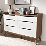 Baxton Studio Brighton 6 Drawer Double Dresser in White and Walnut