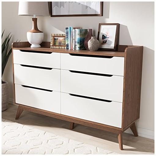 Bedroom Baxton Studio Brighton 6-Drawer Storage Dresser Mid-Century/White/Walnut Brown/Particle Board/MDF with PU Paper/
