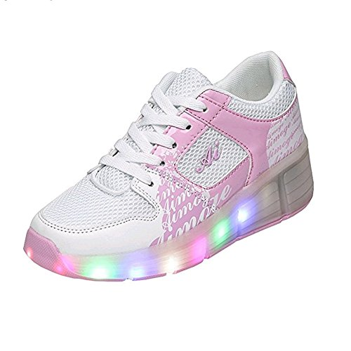 Ufatansy CPS LED Fashion Sneakers Kids Girls Boys Light Up Wheels Skate Shoes Comfortable Mesh Surface Roller Shoes Thanksgiving Christmas Day Best Gift – DiZiSports Store