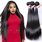 XBLHAIR 100% Unprocessed Brazilian Virgin Human Hair Weave 8A Grade Straight Hair Extensions 3 Bundles Deals Natural Color (14 16 18) 100g/pc Total:300g