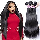 XBLHAIR 100% Brazilian Remy Virgin Human Hair Weave 8A Grade Straight Hair Extensions 3 Bundles Deals Natural Color (14 16 18) 95-100g/pc