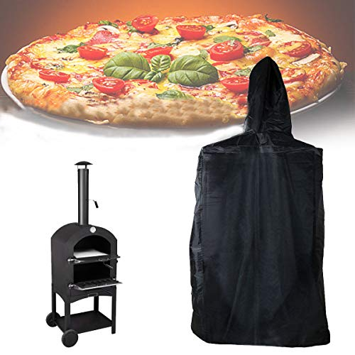 ESSORT Outdoor Pizza Oven Cover, Waterproof Pizza Oven Rain Cover, Weather-Resistant, for Wood-Fired Charcoal Fired Pizza Oven Bread Smoker Barbecue Grill, 160x37x50cm/ 63x14.6x19.7in, Black Black