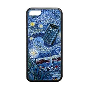 TOPPEST Doctor Who Tardis Police Box Plastic TPU Case Cover Skin For iphone 5C-002
