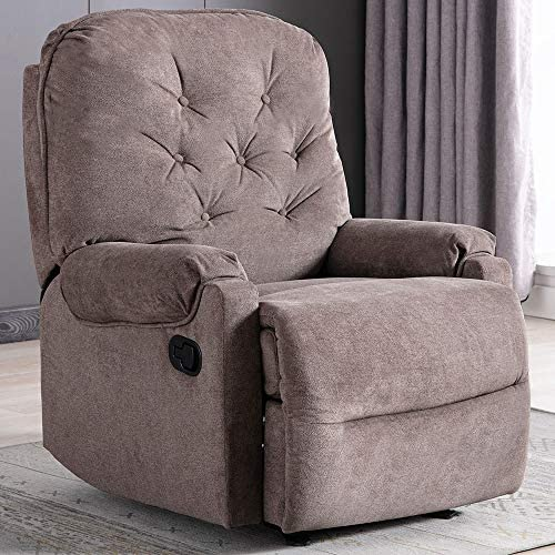 Fabric Recliner Chair with Self-Adjusting The Backrest and Footrest, Recliner Chair Comfortable for Living Room Bedroom Theater Room – Brown