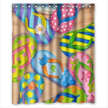 Funny Flip FlopsSlippers ArtSandals 100 Polyester Shower Curtain 66quot