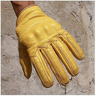 手袋 日常 実用 メンズレザーグローブタッチウェアスクリーンイエローオートバイライディンググローブ (Color : Yellow, Size : M)