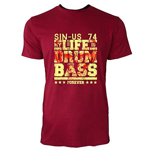 SINUS ART® Drum and Bass Forever Herren T-Shirts in Independence Rot Fun Shirt mit tollen Aufdruck