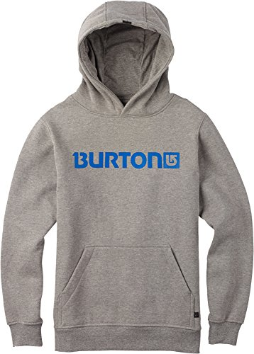 Burton Logo Horizontal Pullover Hoodie 2015, Gray Heather, S by Burton