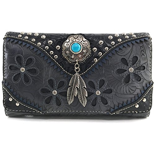 Justin West Turquoise Stone Concho Feathers Western Tooled Studs Concealed Carry Handbag Purse (Black Wallet Only)