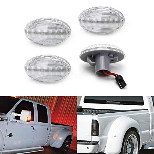 - iJDMTOY Clear Lens Amber/Red Full LED Trunk Bed Marker Lights Set For 1999-2010 Ford F350 F450 Super Duty Truck Double Wheel Side Fenders, Powered by Total 48 LED