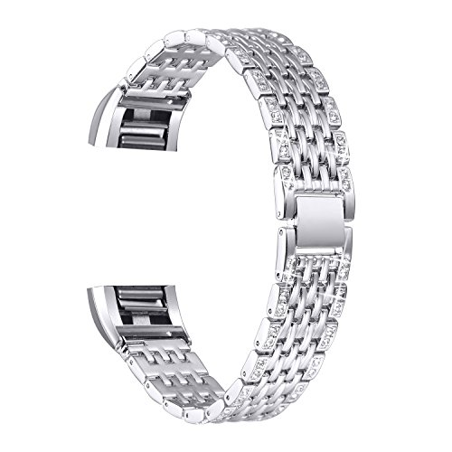 (bayite Metal Bands Compatible Fitbit Charge 2, Replacement Accessories Bracelet Rhinestone Bling, Silver)