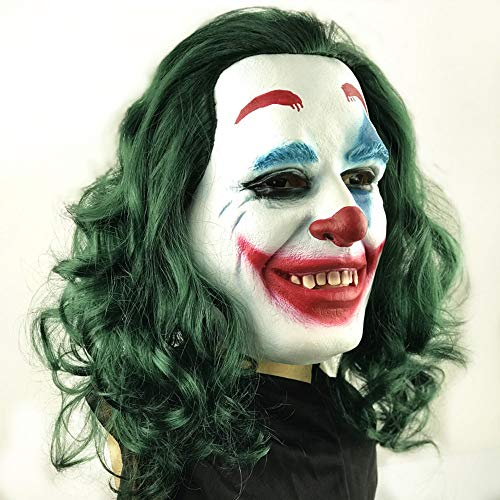 with Wig Hair Latex Mask Joker Funny Face Facial Expression Cosplay Stephen King's It Pennywise Full Headgear Head Helmet Halloween Party Props Green for $<!--$26.99-->