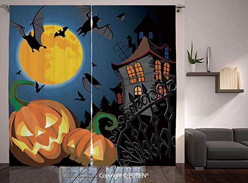 Thermal Insulated Blackout Window Curtain [ Halloween Decorations,Gothic Halloween Haunted House Party Theme Decor Trick or Treat for Kids,Multi ] for Living Room Bedroom Dorm Room Classroom Kitchen C]()