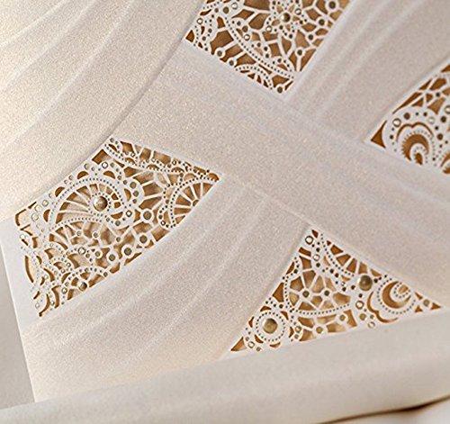 Doris Home Vertical Laser Cut Wedding Invitation with White Hollow Flora 100 pcs by Doris Home (Image #5)