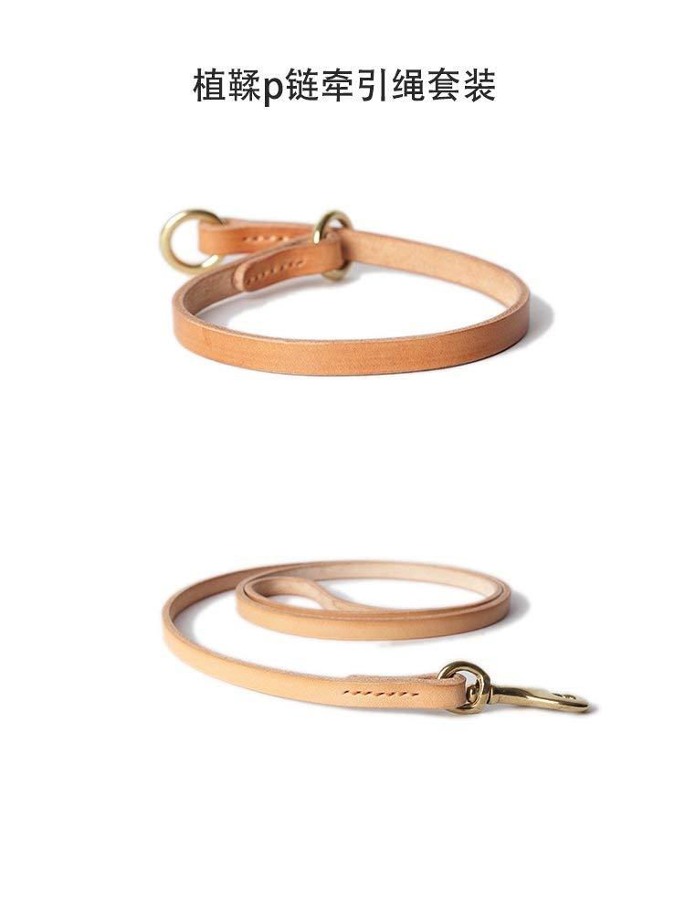 S Lindou Pet collar Original color tanning P Chain Collar traction suit,XL (color   S)