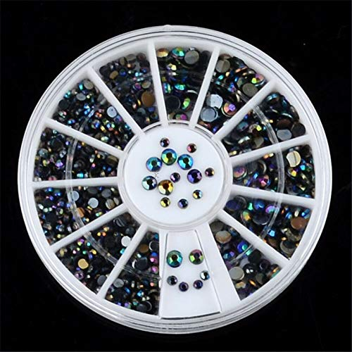 (1xMix Color Wheel Makeup Nail Art 3D Crystal Glitter Rhinestone Tip DIY Decor CN (Pattern - 01))