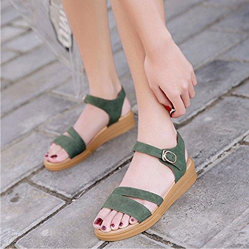 Casual Chaussures Sandales Chaussures Soirée Plat Femmes Femme Frestepvie Boucle Peep Toe Femmes Compensé Roman Talon Vert Sandales 0OwUEqd