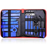 GLK Auto Trim Removal Tool Door Panel Removal Tool for Car Radio Clips Window Molding Upholstery Marine Fastener Removal and Installation with Storage Bag Nylon Pry Tool 19PCS