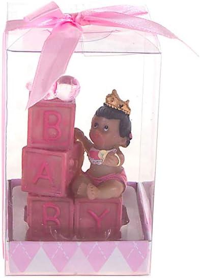 Ethnic Baby Girl Wearing Crown Poly Resin 12PCS Pink Mega Favors