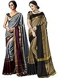ELINA FASHION Pack Two Sarees Indian Women Cotton Art Silk Printed Weaving Border Saree    Sari Combo (Multi 10)