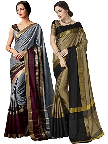 ELINA FASHION Pack of Two Sarees for Indian Women Cotton Art Silk Printed Weaving Border Saree || Sari Combo (Multi 10)