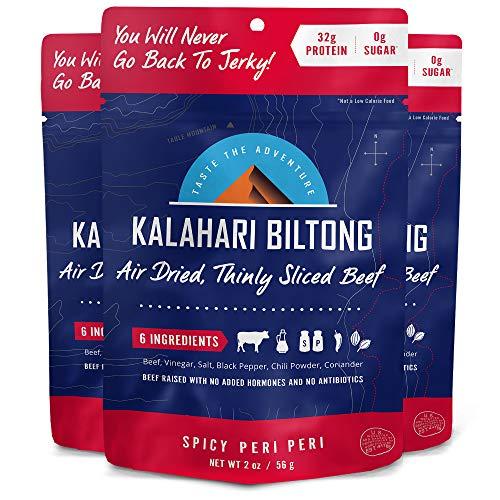 Kalahari Biltong   Air-Dried Thinly Sliced Beef   Spicy Peri Peri   2oz (Pack of 3)   Zero Sugar   Keto & Paleo   Gluten Free   Better than Jerky