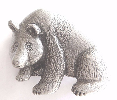 Grizzly Bear Pewter Brooch Pin Badge (Bear Grizzly Pewter)