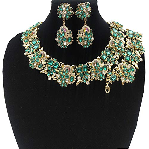 NABROJ Women Vintage Statement Necklace Bracelet Earrings Set Green, Bib Necklace for Women Novelty Jewelry 1pc with Gift Box-HLN001 Green 3pcs Set