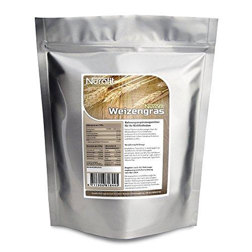 Nurafit Weizengraspulver - 1000g / 1kg reines Weizengras aus schonender Herstellung - Veganes Superfood mit vielen Vitaminen und Mineralstoffen