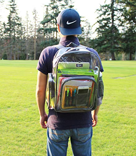 Large Heavy Duty Clear Backpack, Transparent backpack for School,Work,Stadium.