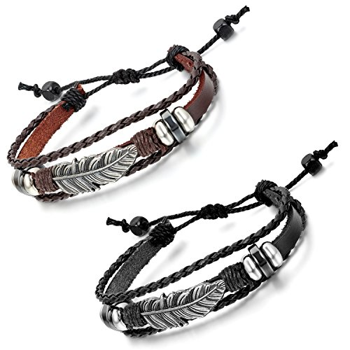 Aroncent Feather Bracelet Vintage Adjustable