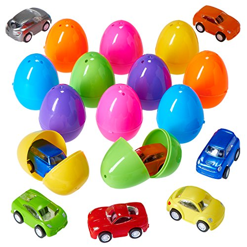 Prextex Easter Eggs Filled with Mini Pull back Vehicles - Mini Pull