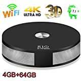 Android TV Box, 4GB 64GB Super-VIP R10 Smart 4K TV Box Android 7.1 RK3328 Quad Core Lan 1000M Bluetooth 4.1 Dual 2.4G/5G Dual Wifi Set Top Boxes 3D 4K Ultra HD TV