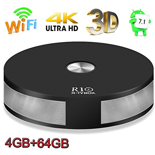Android TV Box, 4GB 64GB Super-VIP R10 Smart 4K TV Box Android 7.1 RK3328 Quad Core Lan 1000M Bluetooth 4.1 Dual 2.4G/5G Dual Wifi Set Top Boxes 3D 4K Ultra HD TV by Super-VIP