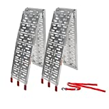 Motorhot 2 Pcs 7.5'ft Aluminum Folding Loading Ramps Top for Lawnmower ATV Truck Motorcycle Ramp Silver 1500lbs Capacity