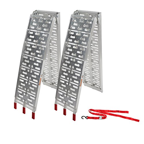 2 Pcs 7.5 ft Aluminum Plate Folding Loading Ramps Top Lawnmower ATV Truck Motorcycle Ramp Silver 1500lb Capacity