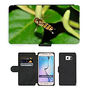 GoGoMobile Flip PU Leather Wallet Case with Credit Card Slots // M00118229 Insects Brine Fly Episyrphus // Samsung Galaxy S6 (Not Fits S6 EDGE)